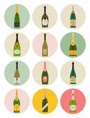 Champagne bottles icons — Stock Vector