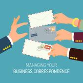 Business correspondence managing. — Stok Vektör