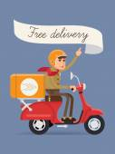 Delivery scooter — Stock Vector