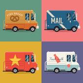 Local delivery service vans. — Stok Vektör