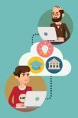Online education process. — Stockvector