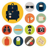 Adventure backpack content — Stock Vector