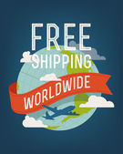 Free shipping worldwide — Stock Vector