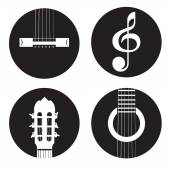 Classical acoustic guitar icons — Stock Vector