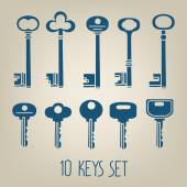 Different keys silhouettes — Stock Vector