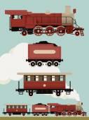Vintage train set. — Stock Vector