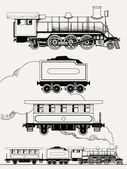 Old train engraving — Stock Vector