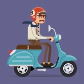 Man riding vintage moped — Stock Vector