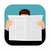 Man holding newspaper — Stock Vector