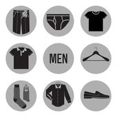 Clothes for men icons — Stock Vector