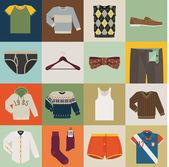 Different men wear items — Stock Vector