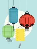 Colorful paper lanterns — Stock Vector