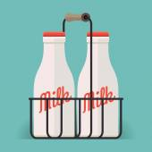 Classic milk bottles — Stock Vector