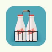 Milk bottles icon — Stock Vector