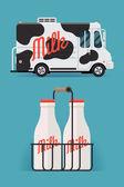 Dairy milk delivery service — Vetor de Stock