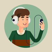 Man in earphones listening music — Vetor de Stock