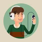 Man in earphones listening music — Stock Vector