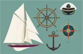 Nautical items — Stock Vector