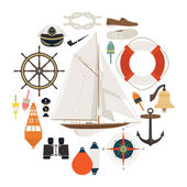 Different nautical items — Stock Vector