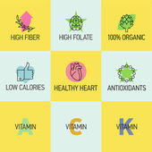 Icons on healthy food benefits. — Stock Vector