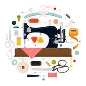 Circle shaped sewing items — Stock vektor