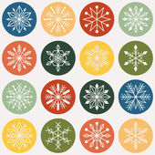 Snowflake circle icons — Stock Vector
