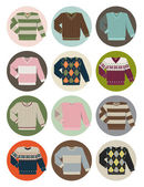 V-neck sweater icons — Stock Vector