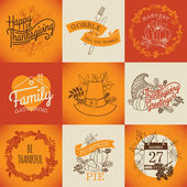 Happy thanksgiving lettering items. — Stock vektor