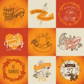 Happy thanksgiving lettering items. — Stock Vector