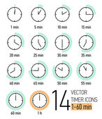 Set of timer icons — Stock Vector
