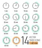 Set of timer icons — Vettoriale Stock