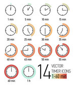 Set of timer icons — 图库矢量图片