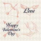 Elemente und Schriftzug am Valentinstag — Stockvektor