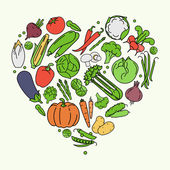 Vegetables love. — Stock Vector