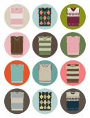 V-neck vest icons — Stock Vector
