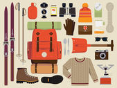 Snow backpack trip equipment. — Stock Vector