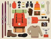 Snow backpack trip equipment. — Vector de stock