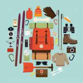 Snowy backpack trip equipment. — Stock Vector