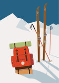 Winter skis in mountains — Stock Vector