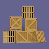 Contenedores de madera — Vector de stock
