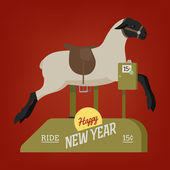 New year sheep ride for kids — Stock Vector