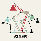 Six work lamps. — Stock Vector