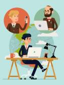 Businessmen having video conference — Stock Vector