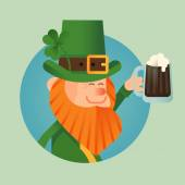 Saint Patrick's day leprechaun icon — Stock Vector