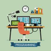 Creative illustration on programming — Stock Vector