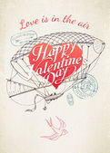 Saint Valentine's Day flying airship — Vector de stock