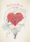 Saint Valentine's Day flying balloon — Stock Vector