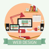 Web designer work space — Stock Vector