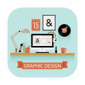 Graphic design workplace — Stock Vector