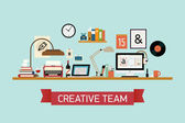 Creative team  workspace — Stock Vector